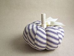 Classic Blue Ticking Pumpkin Pincushion by SeaPinks on Etsy