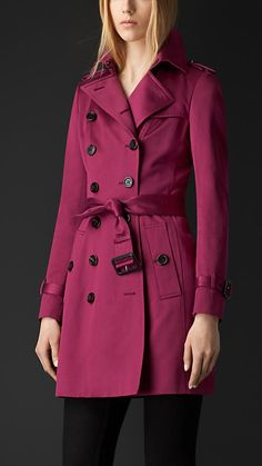 Magenta/rosa Trench coat em cetim de algodão - Imagem 1
