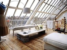 Romantic White Loft With Huge Windows In Sweden. The sort of place I'd love to spend a holiday in but would hate to live in. Interior Exterior, Home Interior, Interior Ideas, Design Interior, Studio Interior, Interior Modern, Beautiful Space, Beautiful Homes, Beautiful Sky
