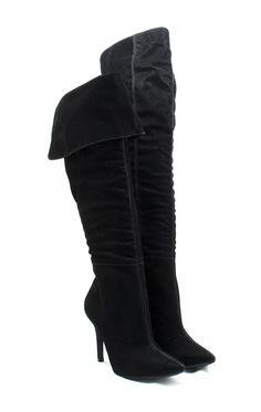 Ana Mello Calçados Femininos - Bota Cano Longo Bico Fino Preta - Botas