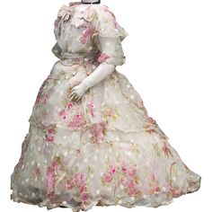 Superb Antique Silk Dress for French Fashion Jumeau Bru Rohmer Huret from respectfulbear on Ruby Lane