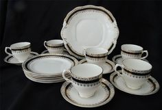 Salisbury Bone China 2027 White with Black and by PeggysAntiques