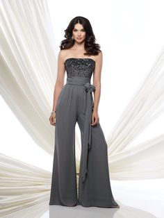 115976 - Strapless chiffon high waist jumpsuit features a bodice encrusted with hand-beading, ruched wrap tie belt at midriff, flowing wide pant legs, suitable for wedding guests and formal events. Matching shawl and removable straps included.  Embellish by David Tutera earring style Amanda and bracelet style Claudia sold separately.
