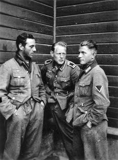 Mountain rangers of 6.Company, 2.Battalion, 137.Regiment from left to right, Franz Hollerweger), sergeant Kepplinger and ranger Köhl (KIA June 29, 1941 in a battle near the village Titovka, Murmansk region, USSR) confer during a break in Narvik, Norway, June 13, 1940.