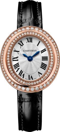 Hypnose watch Small model, 18K pink gold, leather, diamonds