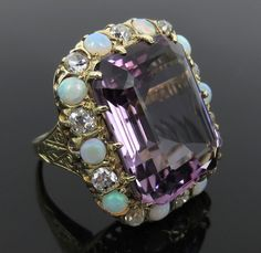 Antique 1.50ct Old Mine Cut Diamond 20ct Amethyst & Opal 14K Yellow Gold Ring