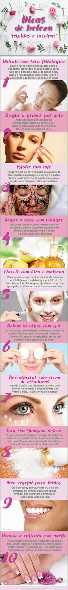 "As horas, os dias, os meses passam e aquele ""dia de beleza"" vai sempre sendo deixado para depois. Seja por falta de tempo, grana ou os dois! Mas para ficar ainda mais linda existem truques rápidos que podem ser feitos… Beauty Care, Diy Beauty, Beauty Skin, Health And Beauty, Beauty Hacks, How To Make Hair, Make Up, Tips Belleza, Belleza Natural"