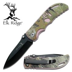 "Elk Ridge Folding Pocket Knife Folder Green Pink Camo 3.5"" Fishing Hunting 134ca - Great ladies gift.  Valentines Day|Birthday|Christmas|Mothers Day"