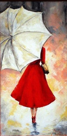 Image result for girl with umbrella painting