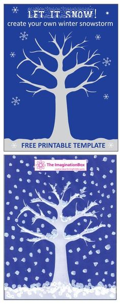 The ImaginationBox: 'Let it Snow' free Winter Tree template. Make your own snow storm and experiment with fingerprints, cotton wool, stickers, buttons......