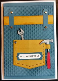 Father's Day Card - using all Stampin' Up! products (some retired) including Totally Tools & Teeny Tiny Sentiments Stamp Sets & CS (card inspired by existing one on Pinterest)