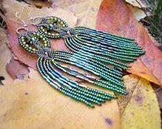 Long micro macrame earrings - Tassel Fringe Green Shades Leaves Unique Beadwork Bohemian Boho