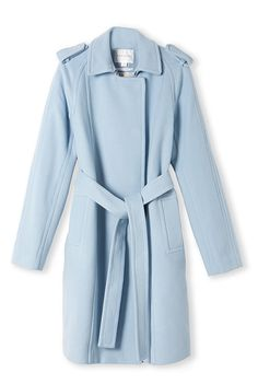 Wool Melton Trench in Powder Blue. Pretty Outfits, Cute Outfits, Winter Must Haves, Blue Coats, Winter Looks, Winter Wear, Trench, Winter Fashion, Women Wear