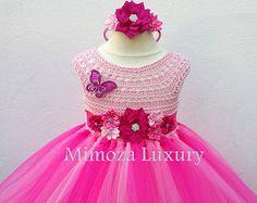 Magenta Hot Pink Fuchsia Flower girl dress tutu by MimozaLuxury