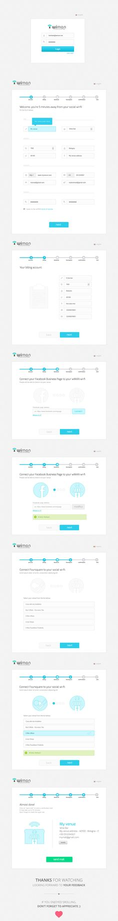 Wiman registration wizard in six easy steps by Alessio De Feudis, via Behance
