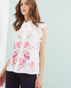 ab964748efbb5d Duchess of Cambridge - Sketchbook Floral pussy bow blouse - Ecru