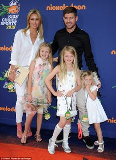 Family ties: Alex and Steven Gerrard arrive at the Kids' Choice Sports Awards with their three daughters (L-R) Lilly-Ella, Lexie and Lourdes Steven Gerrard Liverpool, Alex Gerrard, Liverpool Football Club, Liverpool Fc, Nickelodeon Awards, Kids Choice Sports Awards, Stevie G, Liverpool Legends, Tiny Shorts