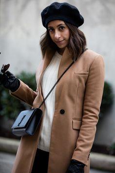 Camel coat, black kylie and kendall booties, black beret, parisian style, fashion blogger, style blogger, ysl bag  http://randasalloum.com/how-to-buy-denim-jeans/