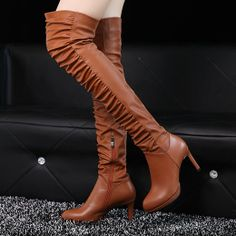 price:79.99usd  Style: Stylish/ Charming  Feature: Solid Color/ Shirred  Color: Brown/Black  Material: PU  Size: US 5/US 5.5/US 6/ US 7/US 7.5/US 8