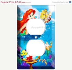 LIMITED SALE Ariel the little mermaid flounder fish from disney movie princess 2 hole outlet cover plate children room girls pink room on Etsy, $5.99