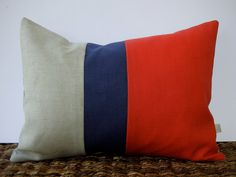 Color Block Stripe Pillow in Coral Navy and by JillianReneDecor, $38.00