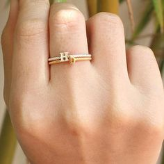 Stacking Ring – Name Ring – Unique Ring – Twisted Ring – Personalized Jewelry – bracelets – Best Crafts Unique Ring Designs, Gold Ring Designs, Gold Earrings Designs, Gold Jewellery Design, Unique Rings, Trendy Jewelry, Cute Jewelry, Gold Finger Rings, Gold Rings Jewelry