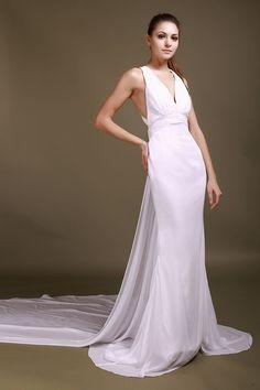 Nice-Looking Trumpet/Mermaid White Chiffon Court Train Straps Wedding Dress -