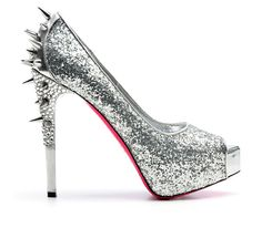 Silver Pumps with Spikes and Partial Crystals