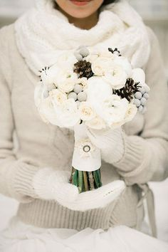 I love this bouquet filled with pinecones and accented with fabric details on the handle: pinecone bouquet