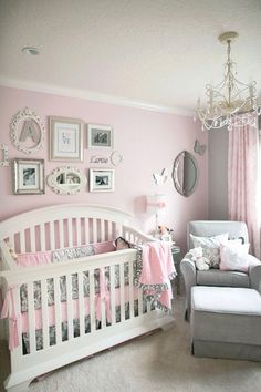 Pink/gray nursery I love the chair for a nursery, not so much the rest.