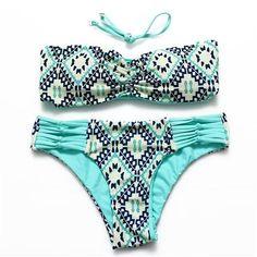 12e94476b1  EBay  Sexy Print Floral Swimsuit Sexy Strappy Bikini Women Beach Swimwear  Reversible Bikini Bandeau