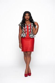 Red & Multicoloured Woodin Ankara African by KwestomarKreations African Fashion Dresses, African Dress, Dress Skirt, Peplum Dress, Ankara Gown Styles, Dress Styles, Fall Outfits, Fashion Outfits, Work Outfits