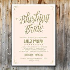Lingerie Shower Invitation Blushing Bride by madebykatydesigns EMMOLY. This is for you, Omg genius