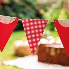 Guirnaldas con banderines vichy (x 5) para fiestas