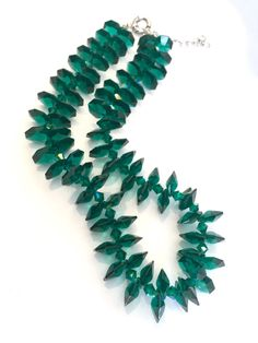 Gorgeous Crystal Cluster Necklace Composed of Glittering Emerald Green Crystals Lighting Up the Neckline with a Burst Of Beautiful Color and