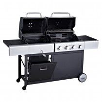 The unique Outback Combi dual charcoal and gas barbecue.