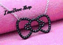 """In Stock and Ready to Ship! Pretty Hello Kitty Style Black Crystal Bow Necklace, so pretty on an 18"""" long chain that is extendable to 20"""" long. Bow Pendant measures 2"""" wide, $11 with Free Shipping ♥  USA Buyers only. All purchases require full paym..."""