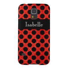 Red Faux Glitter Black Dots Case For Galaxy S5 - monogram gifts unique design style monogrammed diy cyo customize