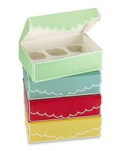 "Cupcake Boxes, Multicolored $ 24/4 6 3/4"" x 9 1/2"" x 2 3/4"" high Removable inner tray keeps cupcakes stable and prevents shifting. How sweet!"