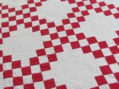 Beautiful Quilting Antique c1880 Red Amp White Irish Chain Quilt 82x71 Clean | Vintageblessings