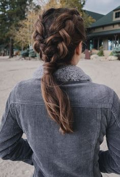 double french braids into low ponytail | long hair ideas | brunette hair