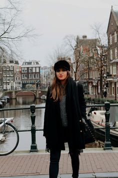 Total black winter #outfit visiting #amsterdam #fashion #style #look #blogger #fashionbloggers