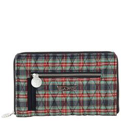 Ivy Signature Zip Wallet - The new Signature Zip Wallet from our Ivy Collection features a classic plaid of red, green and black with a contrasting inside center of black and green plaid. The Signature Zip Wallet measures 7.5x.75x4.75