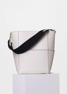 b20554c1f835 Summer 2016 Celine Collection Outlet-Celine Seau Sangle Shoulder Bag with  Black Double Stitching in White Calfskin