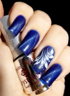 New Mani: Crystal Nails Blue Tiger Eye Polish with Hand Drawn Accent Nail | Ten Little Canvases