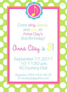 Lexis Musical First Birthday Invitation KK Pinned To Show Example Of Note