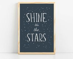 """Modern black and white nursery artwork, nursery decor ideas for baby boy from Sunny and Pretty. Bright stars kids prints with a """"Shine like the stars"""" quote for a playful kids room decor. Nursery art and nursery prints to complete your nursery decor project. Our nursery wall art is made with love and is designed to reflect your nursery wall decor style. 🖤 Get excited about decorating for your little one! #sunnyandpretty Modern Nursery Decor, Nursery Wall Decor, Baby Room Decor, Nursery Themes, Nursery Ideas, Nursery Room, Nursery Artwork, Nursery Paintings, Nursery Prints"""