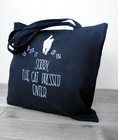 Funny tote with a cat, Big shopping bag, Black canvas bag with a pocket #black #tote #handpainted #cat #funny