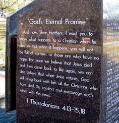 """God's Eternal Promise - """"So comfort and encourage each other with this news!"""" Marker located on Baylor University Campus - Waco, Texas #Baylor #BaylorUniversity"""