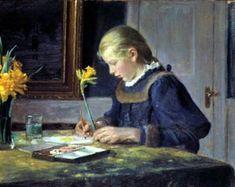 Michael Ancher 1896 Kunstnerens datter Helge Ancher maler påskeliljer 39,5x50cm. Skagens Museum